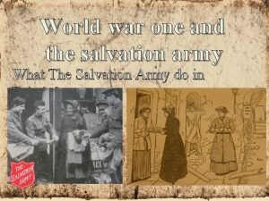 World war one and the salvation army What