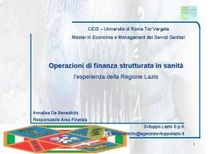 CEIS Universit di Roma Tor Vergata Master in