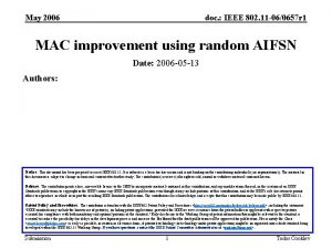 May 2006 doc IEEE 802 11 060657 r