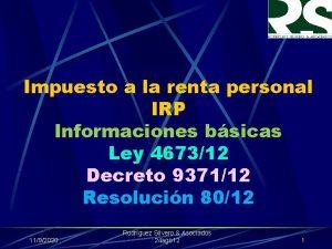 Impuesto a la renta personal IRP Informaciones bsicas