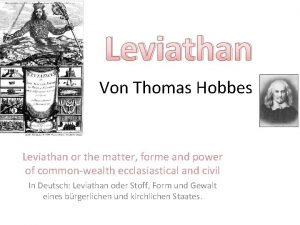 Leviathan Von Thomas Hobbes Leviathan or the matter