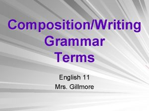 CompositionWriting Grammar Terms English 11 Mrs Gillmore Closed