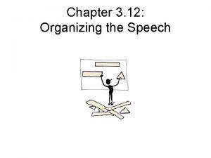 Chapter 3 12 Organizing the Speech Organizing the
