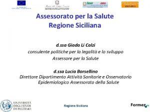 Assessorato per la Salute Regione Siciliana d ssa
