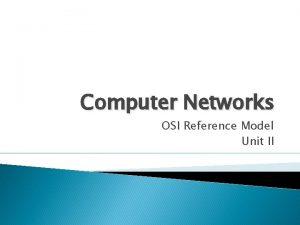 Computer Networks OSI Reference Model Unit II OSI