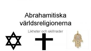 Abrahamitiska vrldsreligionerna Likheter och skillnader Kunskapskrav som testas