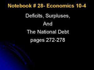 Notebook 28 Economics 10 4 Deficits Surpluses And