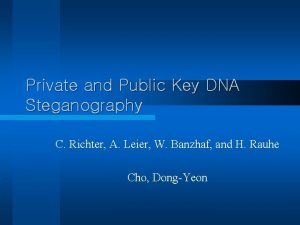 Private and Public Key DNA Steganography C Richter
