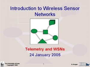 Introduction to Wireless Sensor Networks Telemetry and WSNs