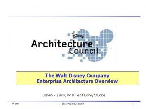 The Walt Disney Company Enterprise Architecture Overview Steven