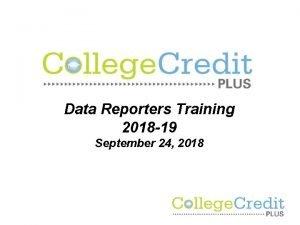 Data Reporters Training 2018 19 September 24 2018