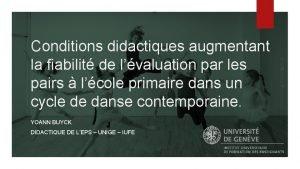Conditions didactiques augmentant la fiabilit de lvaluation par