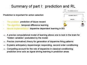 Summary of part I prediction and RL Prediction