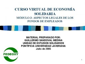 CURSO VIRTUAL DE ECONOMA SOLIDARIA MDULO 3 ASPECTOS