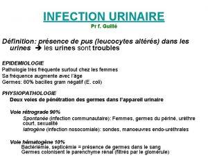 INFECTION URINAIRE Pr f Guill Dfinition prsence de