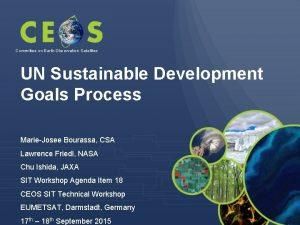 Committee on Earth Observation Satellites UN Sustainable Development