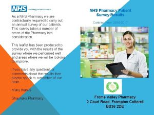 Providing an NHS Service As a NHS Pharmacy