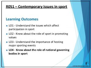 R 051 Contemporary issues in sport Learning Outcomes