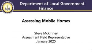 Department of Local Government Finance Assessing Mobile Homes