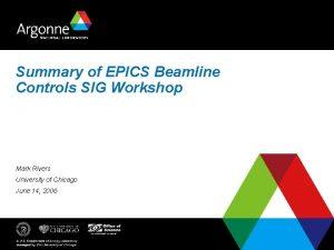 Summary of EPICS Beamline Controls SIG Workshop Mark