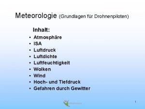Meteorologie Grundlagen fr Drohnenpiloten Inhalt Atmosphre ISA Luftdruck