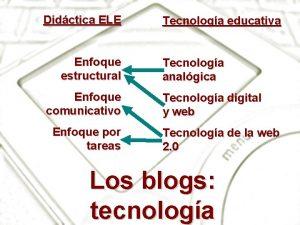 Didctica ELE Enfoque estructural Enfoque comunicativo Enfoque por