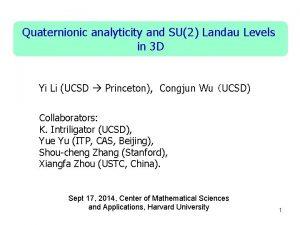 Quaternionic analyticity and SU2 Landau Levels in 3