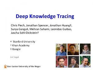 Deep Knowledge Tracing Chris Piech Jonathan Spencer Jonathan