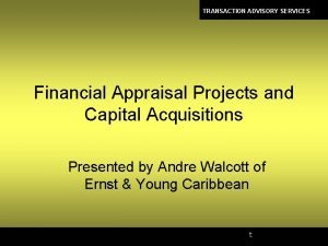 TRANSACTION ADVISORY SERVICES Financial Appraisal Projects and Capital
