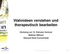 Wahnideen verstehen und therapeutisch bearbeiten Workshop am 19
