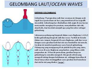 GELOMBANG LAUTOCEAN WAVES DEFINISI GELOMBANG Gelombang pergerakan naik
