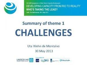 Summary of theme 1 CHALLENGES Uta Wehn de
