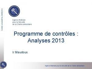 Comit consultatif du 26092012 Agence fdrale pour la