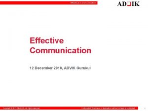 Effective Communication ADq IK Effective Communication 12 December