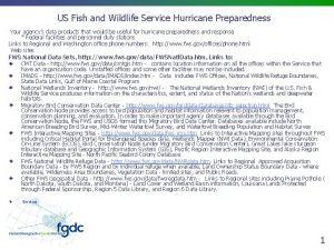 US Fish and Wildlife Service Hurricane Preparedness Your