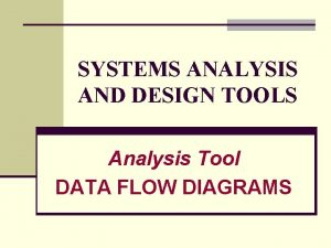 SYSTEMS ANALYSIS AND DESIGN TOOLS Analysis Tool DATA