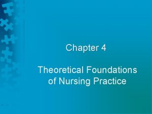Chapter 4 Theoretical Foundations of Nursing Practice Nursing