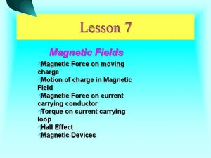 Lesson 7 Magnetic Fields Magnetic Force on moving