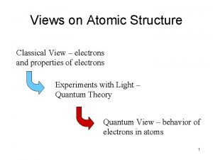 Views on Atomic Structure Classical View electrons and