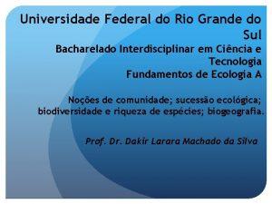 Universidade Federal do Rio Grande do Sul Bacharelado