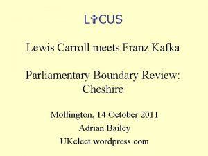 L CUS Lewis Carroll meets Franz Kafka Parliamentary