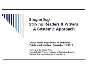 Supporting Striving Readers Writers A Systemic Approach United