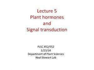 Lecture 5 Plant hormones and Signal transduction PLSC