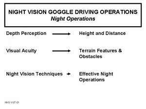 NIGHT VISION GOGGLE DRIVING OPERATIONS Night Operations Depth
