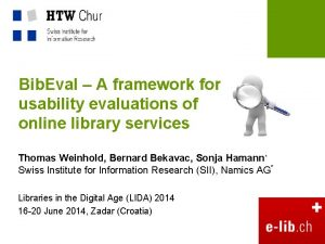 Bib Eval A framework for usability evaluations of