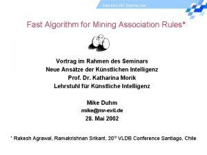 Fast Algorithm for Mining Association Rules Vortrag im