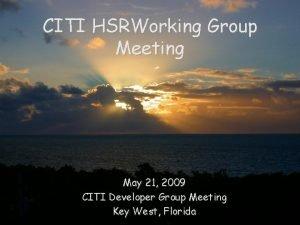 CITI HSRWorking Group Meeting May 21 2009 CITI