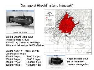 Damage at Hiroshima and Nagasaki 9700 lb weight