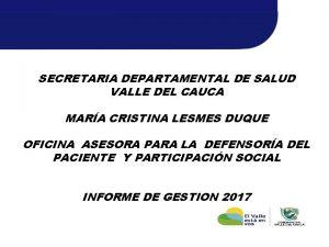 SECRETARIA DEPARTAMENTAL DE SALUD VALLE DEL CAUCA MARA