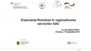 Experiena Romniei n regionalizarea serviciilor AAC Dr Ing